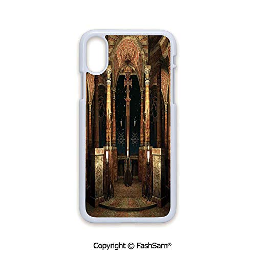 Phone Case Compatible with iPhone X Black Edge Dark Mystic Ancient Hall with Pillars and Cross Dome Shrine Building Print 2D Print Hard Plastic Phone Case
