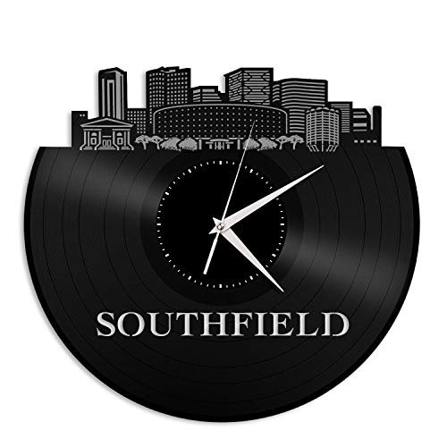 VinylShopUS - Southfield MI Vinyl Wall Clock City Skyline Unique Gift for Student Home and Office | Bedroom Decoration