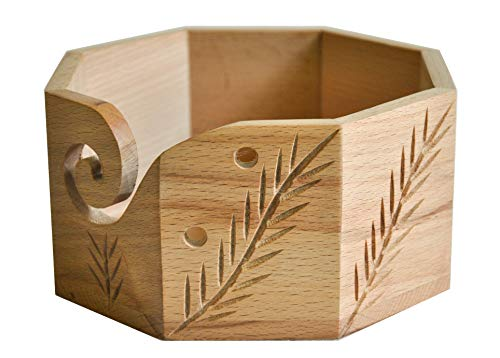 Premium Solid Hard Wood Crafted Wooden Portable Octagonal Yarn Bowl Holder for Knitting Crochet 6 x 6 x 3 inch Christmas Gift Set | Hind Handicrafts (6 x 6 x 3, Beechwood)