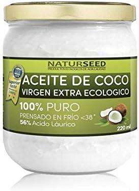 Naturseed Aceite de coco - Virgen Extra Organico, Ecologico - Puro, Natural - 220ml - Para el Cabello y El Cuerpo, Facial, Dientes , Bebes, Para Cocinar - Masaje con Aceites Esenciales - Ebook Gratis