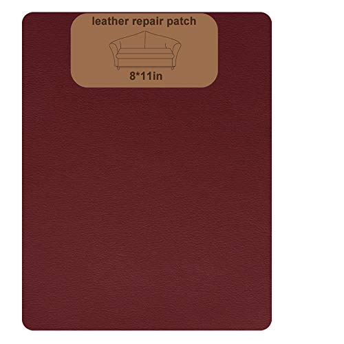 SUMURA Leather Repair Patch,Leather Adhesive Kit for Sofas, Drivers Seat, Couch, Handbags, Jackets - 8 × 11inch(Wine Red)