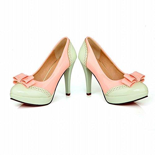 MissSaSa Damen high heel mehrfarbig Plateau Schleife Pumps Hellgrün