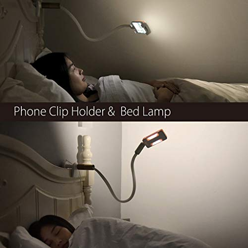 Neetto Bed Cell Phone Holder with LED Light, Flexible Lazy Long Arm Phone Gooseneck Mount Clip Clamp Bracket Stand for…