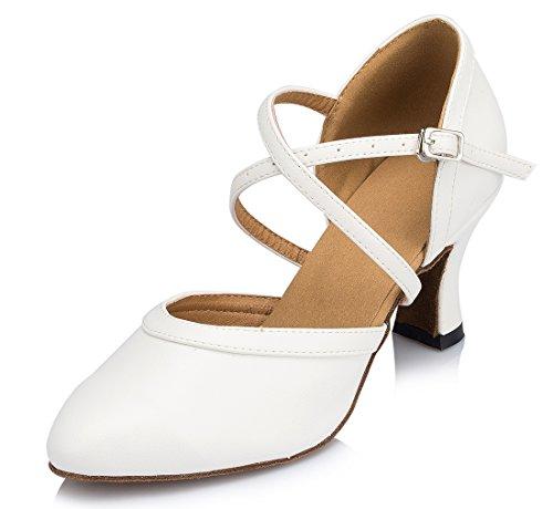 Tda Femmes Fermé Orteil Mi-talon En Cuir Classique Salsa Tango Salle De Bal Latin Moderne Danse Chaussures De Mariage 7cm Talon Blanc