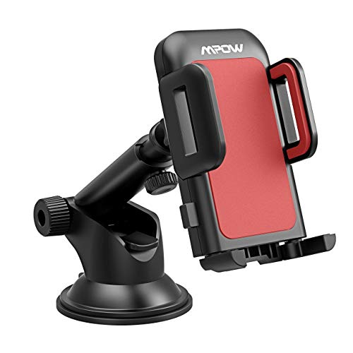 Mpow Gen-2 Dashboard Car Phone Holder, Windshield Car Phone Mount, with Strong Sticky Gel Pad for iPhone Xs Max,Xs,Xr,X,8,8Plus,7,7Plus,6,6Plus, Galaxy S10,S9,S8,S7 Note9,Note8, Google, Moto, Red