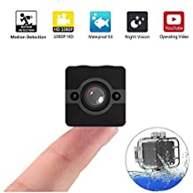 LuckyJax Mini Action Sports Camera w/Mounting Accessories Kit - HD 1080p w/ 155° Wide-Angle Lens - Night Vision & Motion Detection Camera - Portable Waterproof Camera with Accessories Kit