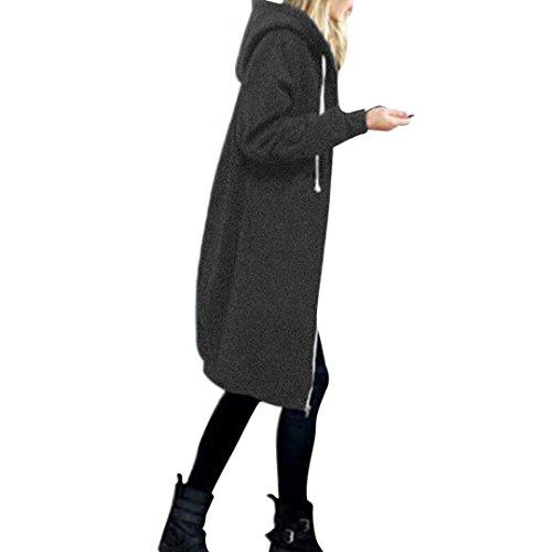 Women Zipper Coat Among Warm Hoodies Slim Sweatshirt Long Solid Pocket Jacket Windproof Tops Outwear Blouse Clothes (XL, Gray)