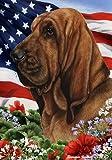 Bloodhound Dog - Tamara Burnett Patriotic I Garden Dog Breed Flag 12'' x 17''