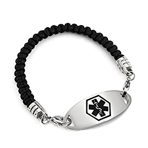 BAIYI Stainless Steel Tag With Black Braided Nylon Medical Alert Bracelets for Wen Women Size 6-8in