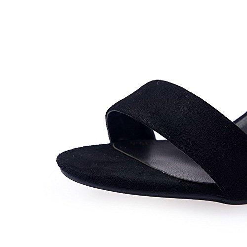 AllhqFashion Women's Buckle Kitten-Heels Imitated Suede Solid Open Toe Sandals Black jCzBCGopFU