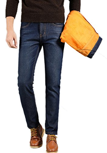 FEESON Men's Winter Casual Thick Fleeced Lined Straight Fit Blue Denim Jeans hot sale
