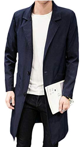Gocgt Mens Notch Lapel Plus-Size Windbreaker Solid Color Button Up Overcoat with Pocket Navy Blue