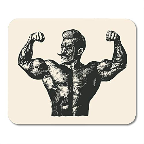 Boszina Mouse Pads Body Man Bodybuilder with Mustache Retro Engraving Linocut Style Muscle Builder Mouse Pad for notebooks,Desktop Computers mats 9.5