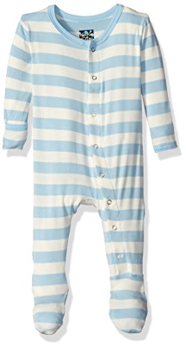 KicKee Pants Boys' Essentials Print Footie, Pond Stripe, 3-6 Months