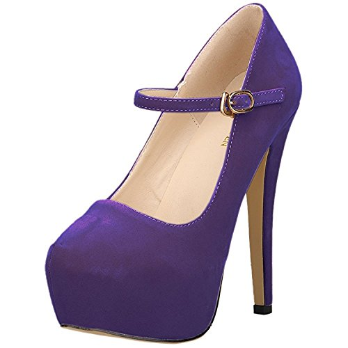 - Oppicong Chic Womens Mary Jane Shoes Concealed Platform Stiletto High Heels Dress Pumps Purple Velvet9 B(M) US