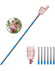 Fruit Picker Tool with Basket Stainless Steel Lightweight Detachable Adjustable Pole for Apple Orange, and Pear
