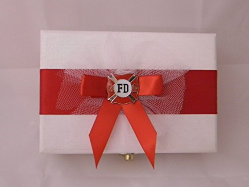 Wedding Ceremony Party Fireman Firefighter ring bearer pillow Box by Custom Design Wedding Supplies by Suzanne (Image #1)