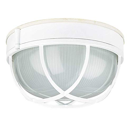 Sunset Lighting F7987-30 One Light Outdoor Bulkhead, White Finish with Frosted Prismatic Glass 30 White Prismatic Glass