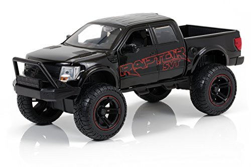 [2011 Ford F-150 SVT Raptor - Black w/ Red Details - Just Trucks Off Road Edition - 1:24 Scale - Jada Toys 97480] (4 Door Truck)
