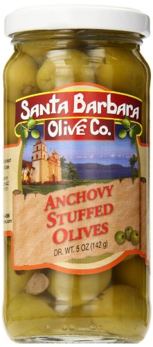 Santa Barbara Olive Stuffed Olives, Anchovy, 5 Ounce (Pack of 6)