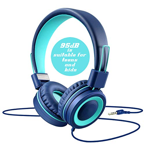 Dongli Cat Kids Headphones for Boys Girls Teens Children Volume Limited Adjustable Foldable Tangle-Free Cord 3.5mm Jack Wired Over-Ear Headset for iPad iPhone Computer MP3/4 Kindle Tablet (Blue)