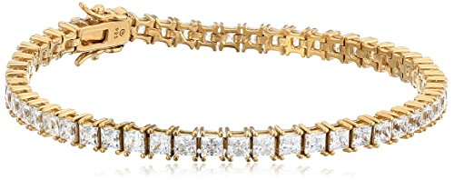 Yellow Gold Plated Silver Princess-Cut Tennis Bracelet made with Swarovski Zirconia (4mm), 7.25