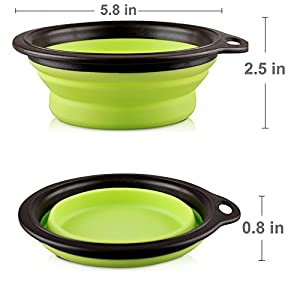 COMSUN 2-pack Large Size Collapsible Dog Bowl, Food Grade Silicone BPA Free, Foldable Expandable Cup Dish for Pet Cat Food Water Feeding Portable Travel Bowl Blue and Green Free Carabiner