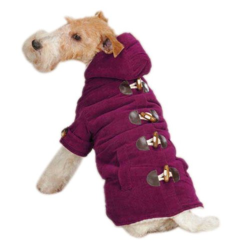 East Side Collection Cotton Corduroy Toggle Dog Coat, X-Small, Deep Raspberry