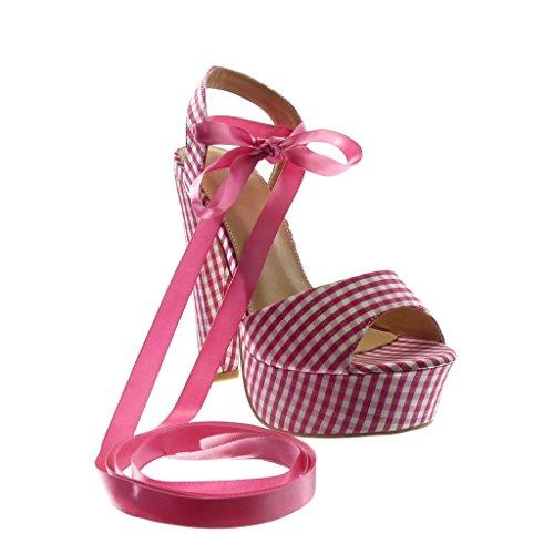 Vichy Peep Court Pump Pattern Fashion Shoes Shoes cm Heel Fushia Lace Platform 14 Toe High Satin Angkorly High 5 Cone Women's Sandals 8AwPPq