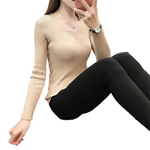 Core Maglia Lunghe Shirloy Maniche A Cachi V Camicetta Snellente Con Sweater Scollo Yarn Calda Fttdw4