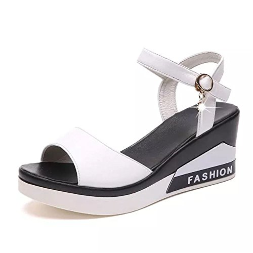 Sandals Wedges Sandals 2 Heels Summer Colors 2018 Soft Light Weight Women Gladiator 5 white Dressed Platform w5tAT