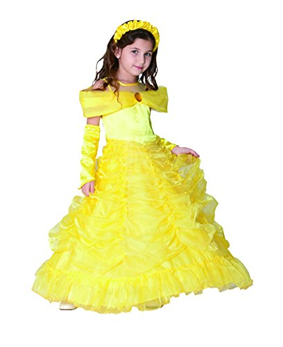 American Vogue Girls Princess Belle Dress up Costume & Accessory Play-Set (4 Years, Yellow) (M And M Packet Costumes)