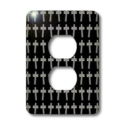 3dRose lsp_38574_6 Page Of Crosses Three Dimensional Etched Metallic Christian Crosses Fill The Page 2 Plug Outlet Cover by 3dRose