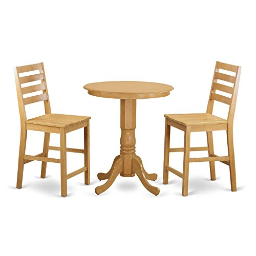 East West Furniture EDCF3-OAK-W 3 Piece Pub Table and 2 Counter Height Chairs Set For Sale