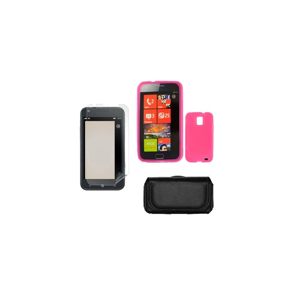 iFase Brand Samsung Focus S i937 Combo Solid Hot Pink Silicone Skin Case Faceplate Cover + LCD Screen Protector + Black Horizontal Leather Pouch for Samsung Focus S i937