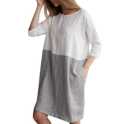 NEEKEY Women Casual Patchwork 1/2 Sleeved Cotton Linen Oversize Loose Pockets Neutral Knee-Length Dress Tops Gray