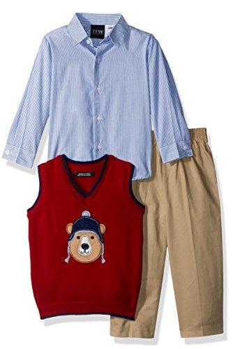 TFW Dresswear Baby Boys Sweater Vest Set, red Bear, 24M