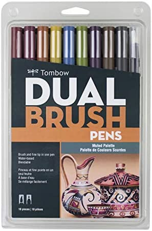 Tombow 56185 Rotuladores artísticos de doble pincel, brillantes, paquete de 10. Marcadores de punta fina y pincel mezclables, Muted