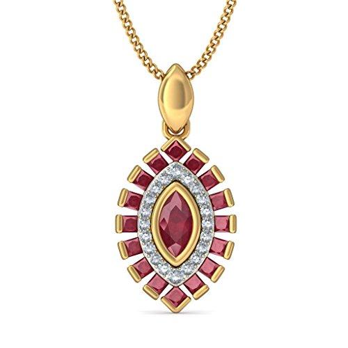 18K Or jaune 0.18CT TW Round-cut-diamond (IJ | SI) et rubis Pendentif