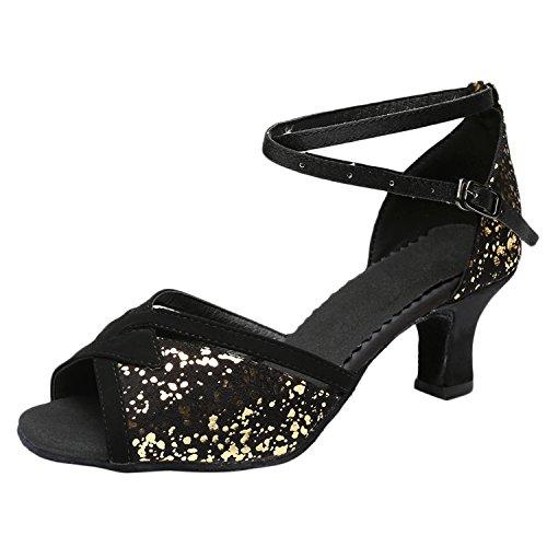 Azbro Mujer Moda Zapato Baile de Latín Fiesta Lentejuelas Puntera Abierta Dorado