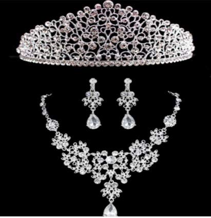 Crystal Pearl Bride Jewelry Set | Necklace Earrings Tiara for Bridal | Wedding Jewelry Set (3Pcs)