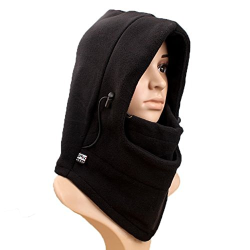 UZZO™Soft Comfortable Thermal Fleece Balaclava Hat Full Face Mask CS Hat Neck Warmer great for Ski Snowboard Winter Bicycle Bike Motorcycle and other outdoor sports in cold winter +Free UZZO logo Key Ring (Black) - Bicycle Snow Chains