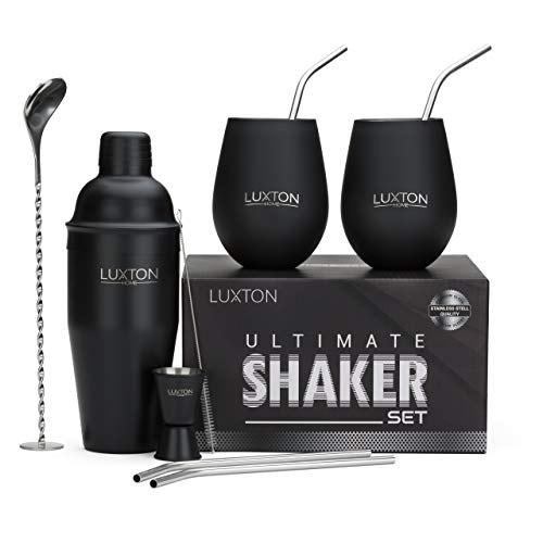 Luxton Home Ultimate Cocktail Shaker Set Matte Black - Plus 2 Cups & 4 Straws (Two Fingers Tequila)