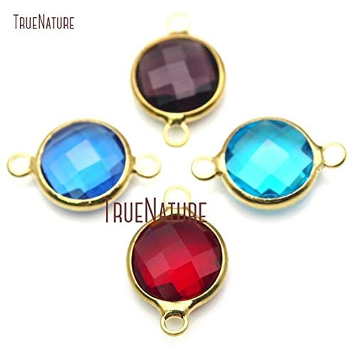 Pure Gold Color Faceted Circle Connector | Royal Blue Sky Blue Wine Red Glass Crystal Connector (10Pcs) (Mix)