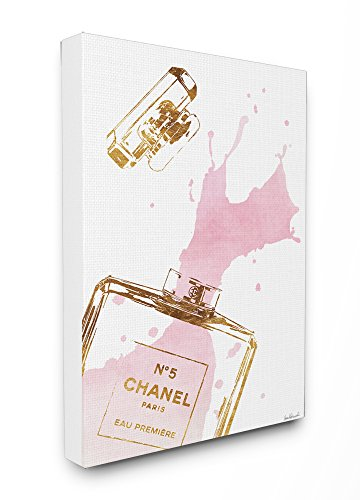 The Stupell Home Decor Collection Stupell Industries Glam Perfume Bottle Splash Pink Gold Stretched Canvas Wall Art, Proudly Made in USA