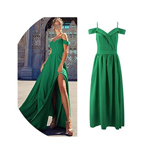 Summer Dress Women Sexy Elegant Long Party Dress Casual Strapless V Neck Split Ball Gown Maxi Dresses,Green,XXL
