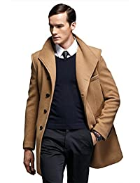 Insun Men's Lapel Collar Single Breasted Wool Long Trench Coat Jacket