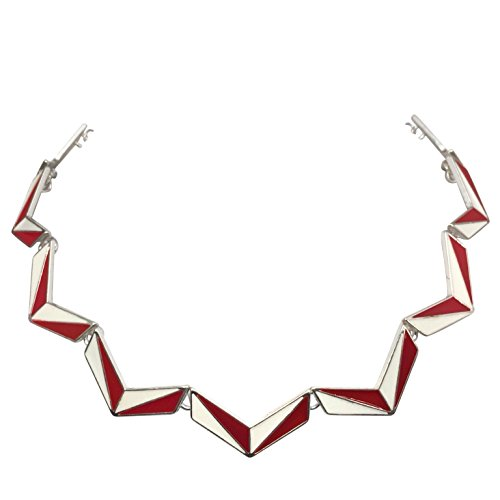 (Gypsy Jewels Color Block Chevron Simple Silver Tone Necklace (Red & White))