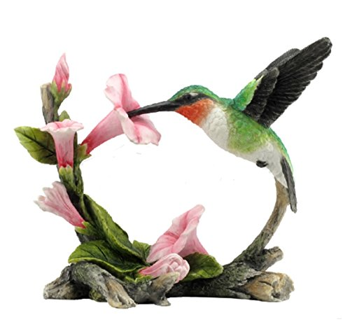 5.75 Ruby-Throated Hummingbird Statue Figure Figurine Bird Sculpture Home Decor