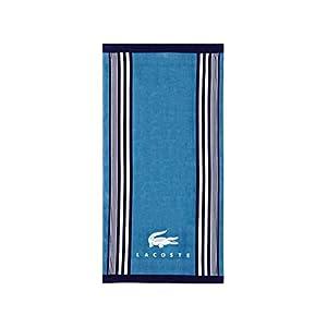 Lacoste Oki 100% Cotton Beach Towel, 36″ W x 72″ L, Teal/Blue Iconic
